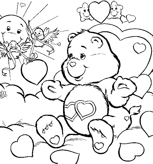 Care bears Love free printable coloring pages