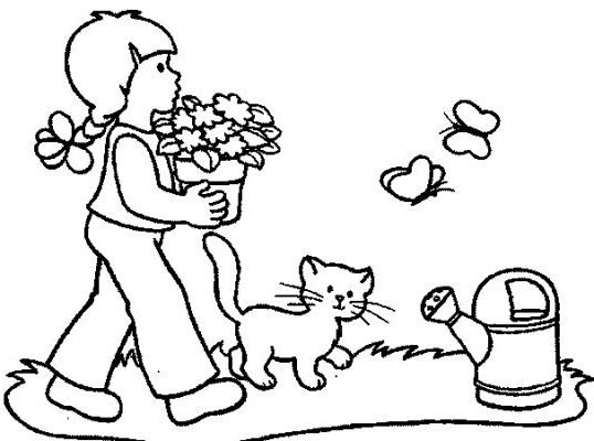Girl Garden coloring pages