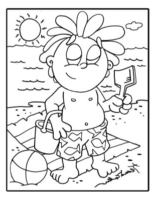 Ouch Sunburn Coloring Page