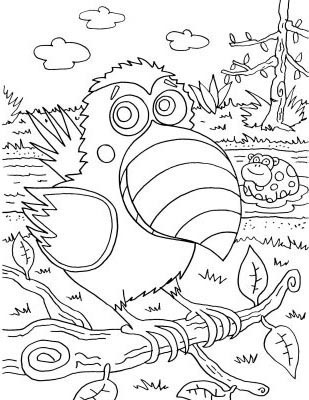 Toucan and Dotty coloring page