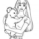 Barbie Coloring Pages with Bear