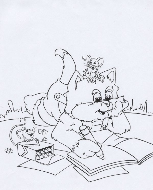 Disney Coloring Page Cat Mouse