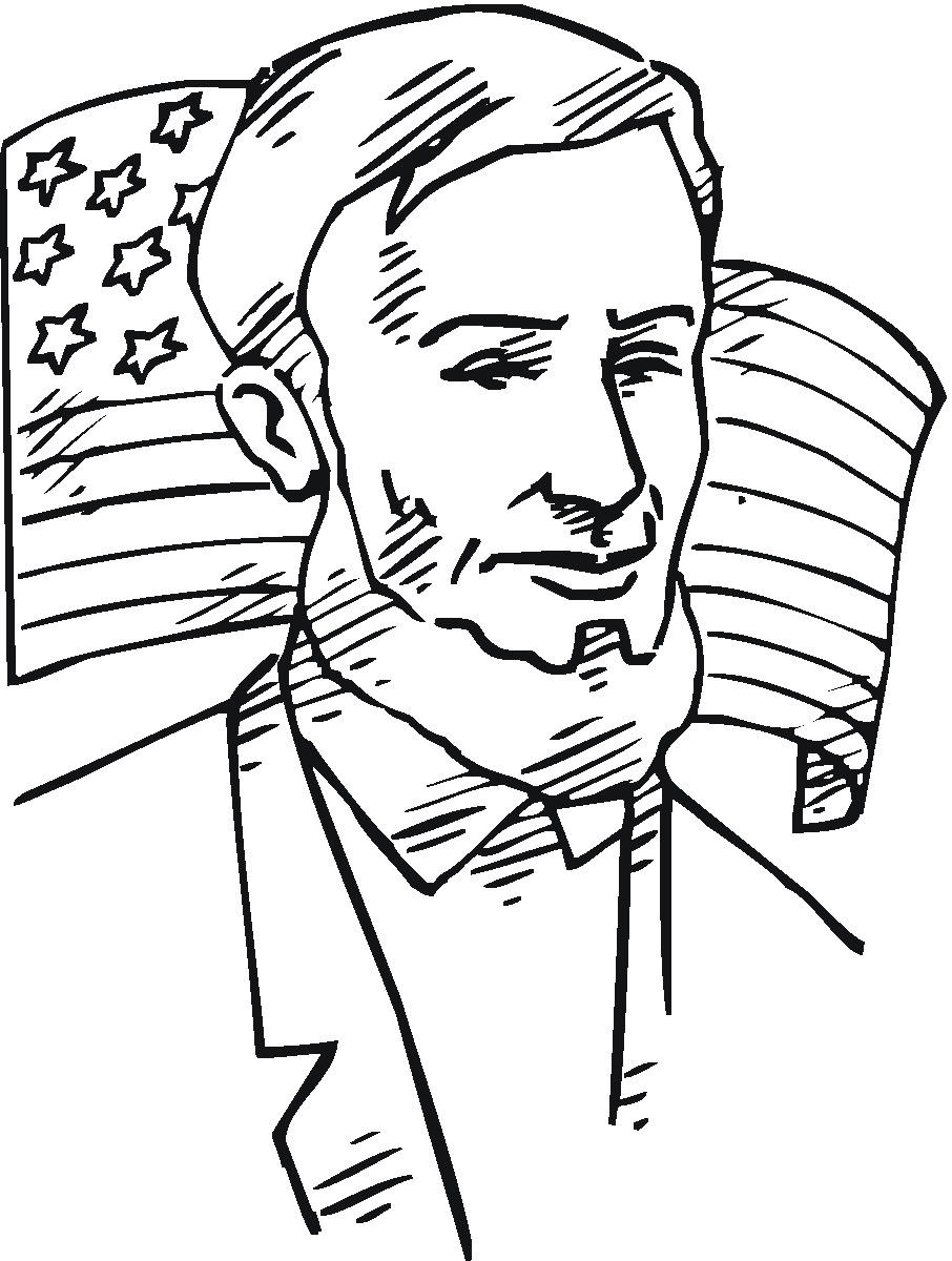 Lincoln in front of American Flag Coloring page