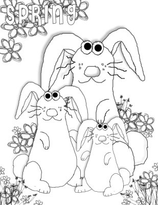 Spring bunnies coloring page